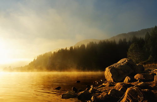 morning sun mist lake nature water fog sunrise landscape golden coast explore bulgaria dospat
