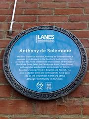 Photo of Anthony de Solempne blue plaque