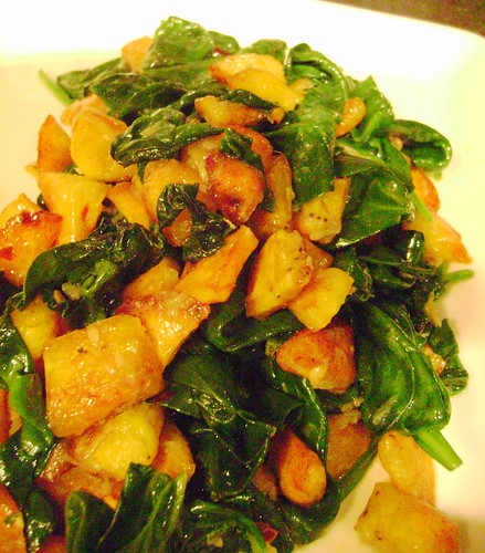 Spicy PLantains and Spinach