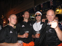 Cam, Russ, The Giant Nun and Hubbers, All Black fans in Marseilles