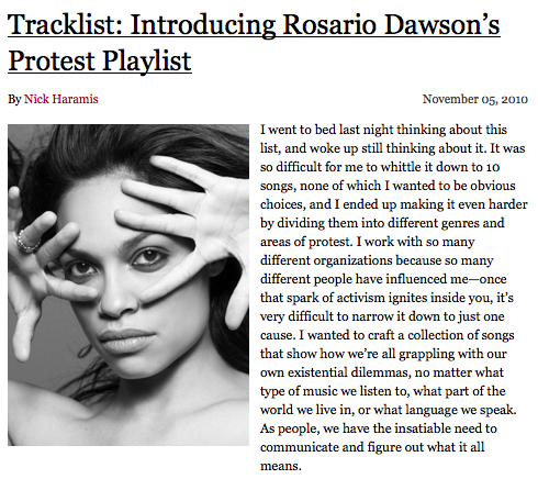 IZ sighting… Rosario Dawson's Protest Playlist