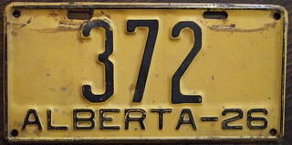 ALBERTA 1926 LICENSE PLATE, 3 DIGIT #372