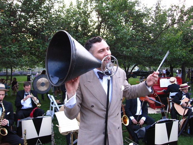 Michael Arenella & His Dreamland Orchestra performing on Cherry Esplanade. Photo by Rebecca Bullene.
