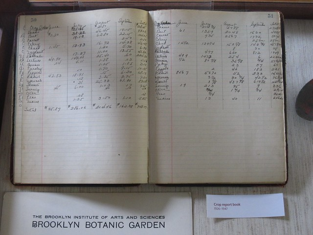 An amazing relic from BBG's past, a crop report book detailing harvests and plantings from 1926-1947.