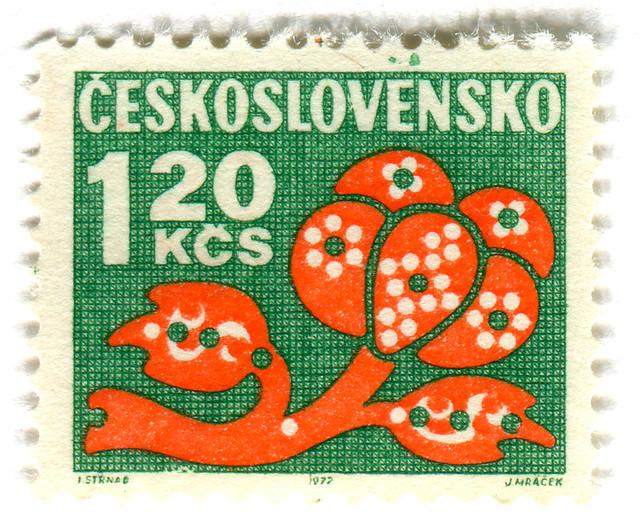 Czechoslovakia postage stamp: orange flower on green