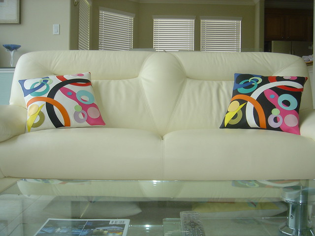 Decorative Pillows & Leather Sofa | Flickr - Photo Sharing!