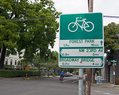 Bike route sign with directional information