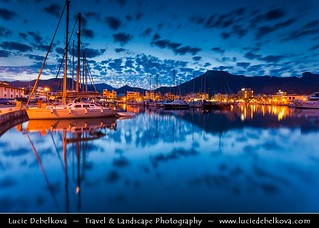 Spain - Mallorca - Port de Pollença - Puerto Pollensa - Marina with boats at Dusk - Twilight - Blue Hour - Night