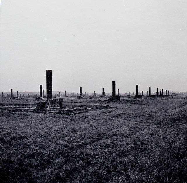 Chimneys of destroyed barrack blocks at Auschwitz, by Simon Norfolk 1998