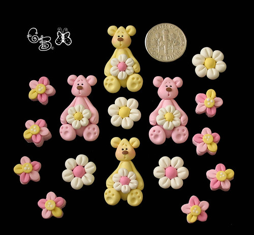 Daisy Bears Polymer Clay Beads