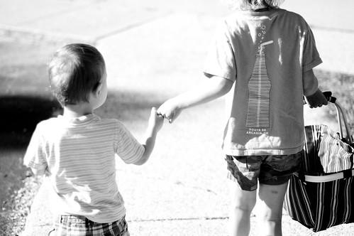 Holding hands, last day of school