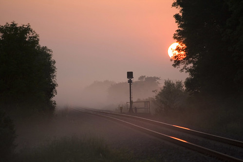 ireland sun mist misty sunrise landscape dawn railway 100v10f mayo cotcmostfavorited iarnrod flickrsbest maigheo imagekind abigfave redbubble