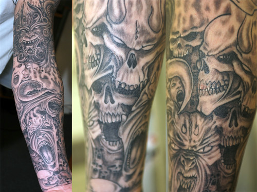 Black and Grey Sleeve Tattoo Designs