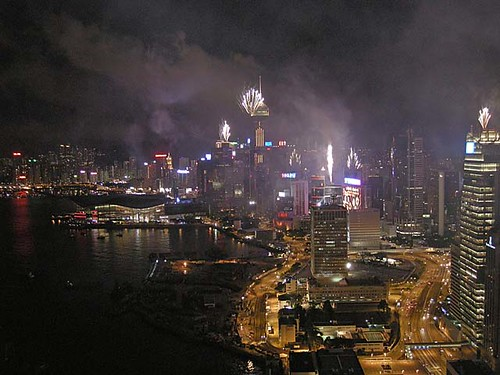 Fireworks for the 10th anniversary of Hong Kong's handover to China