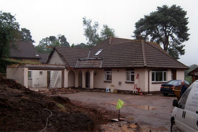 <p>Demolish garage and first floor. Undertake extensive alterations, rebuild first floor and reroof.</p>