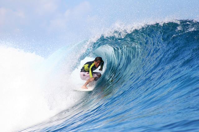 Japanese surfer at Teahupoo, Tahiti.