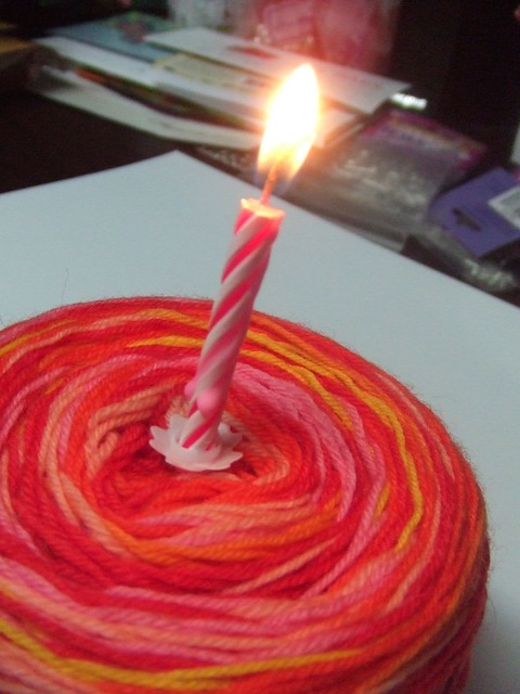 yarncake with birthday candle