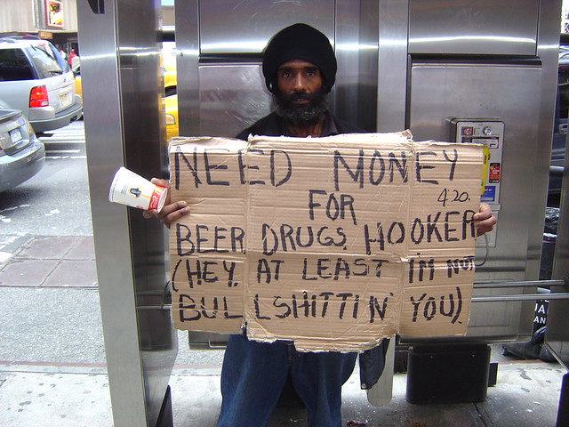 Honest Homeless Man - Times Square