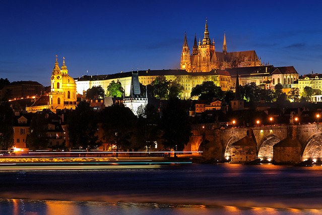 Boat Traffic Under the Prague Castle at Dusk ~ Prague, Czech Republic