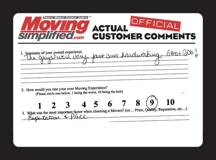 Moving Simplified-Charlotte Movers Testimonials & Reviews