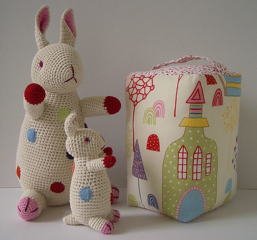 Handmade doorstop with Anne Claire Petit crochet rabbits