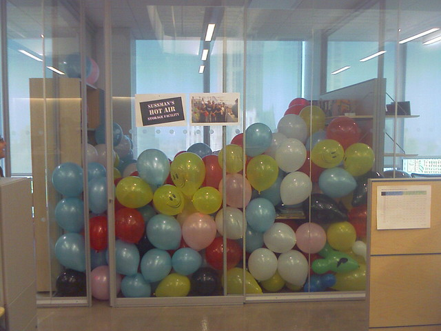 Cubicle Office Pranks - Office Prank Day - Cubicle Full Of Balloons