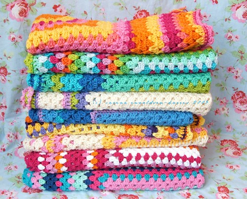 Stack of happy crochet