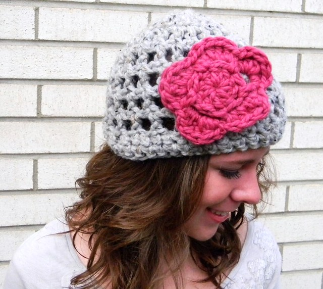 Pattern easy crochet summer slouch hat mesh beret by KnotworkShop