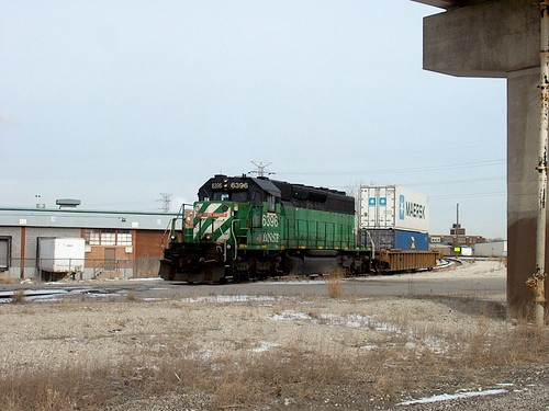 A BNSF Railway one car transfer train on a hold order. Corwith Yard. Chicago Illinois. January 2007. by Eddie from Chicago