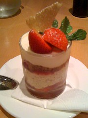 breakfast(0.0), whipped cream(0.0), produce(0.0), cheesecake(0.0), mascarpone(0.0), meal(1.0), semifreddo(1.0), bavarian cream(1.0), strawberry(1.0), parfait(1.0), food(1.0), dish(1.0), dessert(1.0), cuisine(1.0), pudding(1.0),