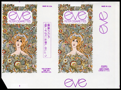 Eve - filter cigarettes pack wrapper proof - 1970's