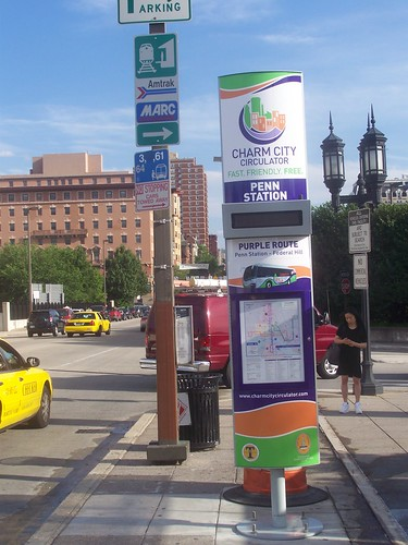 Charm City Circulator sign, Penn Station, Baltimore