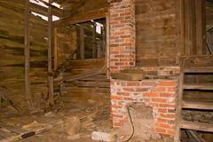 Abandoned farm, cooper's shop interior