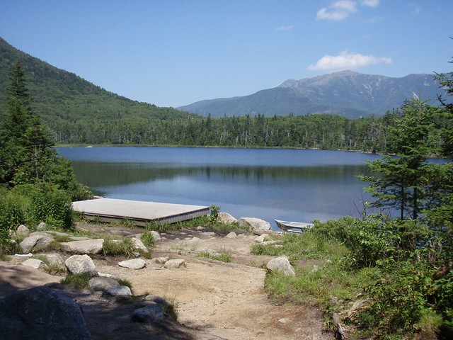 Dock on Lonesome Lake near Hut