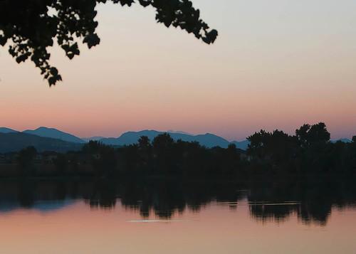 pink sunset orange lake mountains colorado x denver
