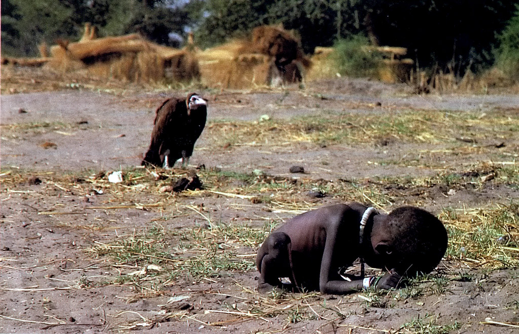 """""""Vulture and the Baby,"""" Sudan 1993, by Kevin Carter"""