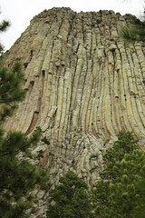 Climbers ascending Devils Tower National Monument