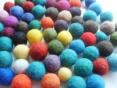 Wool Felt Beads - Round Solid Color #4