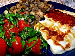Grilled Halloumi with Tomatoes and Mushrooms
