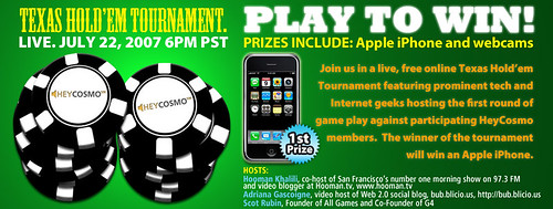 HeyCosmo Hosts Online Texas Hold'em Tournament Featuring Tech and Web 2.0 Celebrities