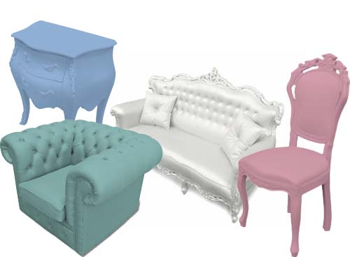 Me melodia furniture find rubber coated baroque for Plastic baroque furniture