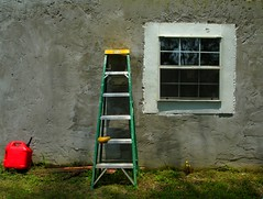 window, wall, ladder,