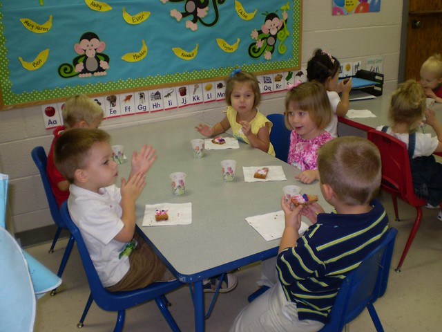 Snack time at preschool for Rachel