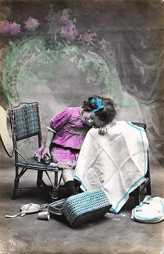 Vintage Postcard ~ Sleepy Little Girl