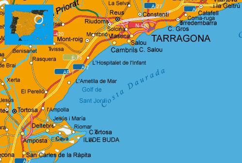 Mapa costa dorada espa a muchoviaje hoteles en costa - Hoteles insolitos espana ...