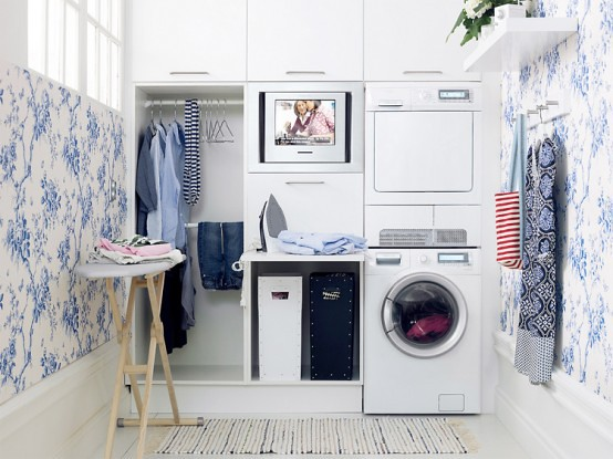 Small Laundry Rooms With Side By Sde Washer And Dryer