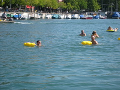 Grant and I swimming the Limmat river in Zurich
