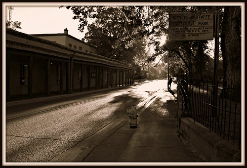 park santa new morning 2 sepia sunrise mexico cathedral fe santafemorning2