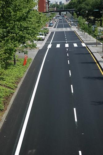 bike lane on Naito Parkway