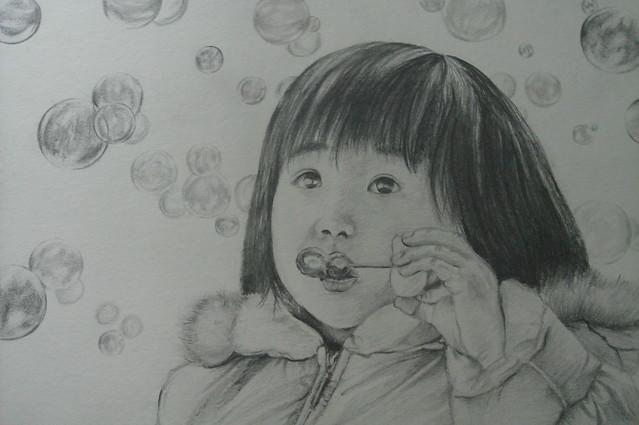 原创吹泡泡的小女孩卡通